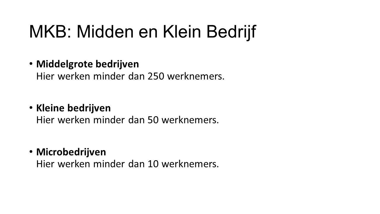 MKB: Midden en Klein Bedrijf Middelgrote bedrijven Hier werken minder dan 250 werknemers. Kleine bedrijven Hier werken minder dan 50 werknemers. Micro
