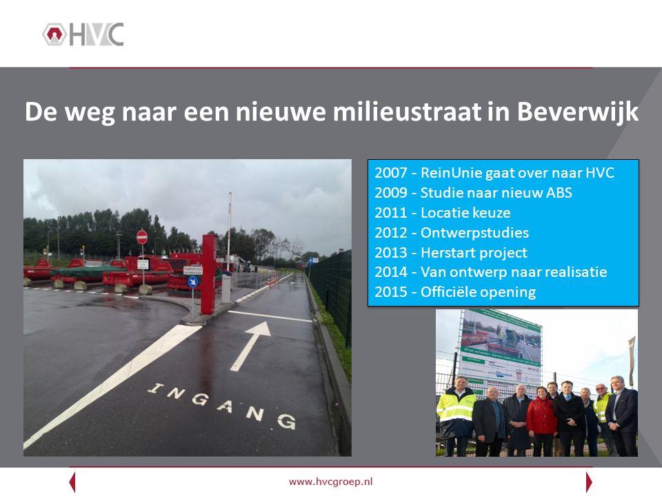 De weg naar een nieuwe milieustraat in Beverwijk 2007 - ReinUnie gaat over naar HVC 2009 - Studie naar nieuw ABS 2011 - Locatie keuze 2012 - Ontwerpst