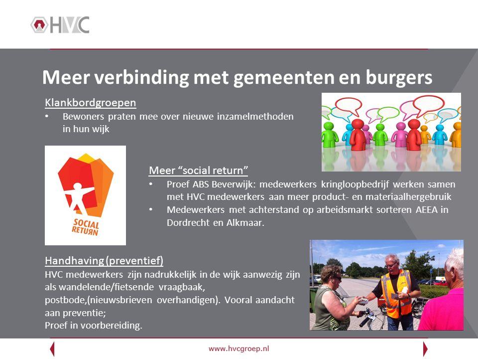 "Meer verbinding met gemeenten en burgers Meer ""social return"" Proef ABS Beverwijk: medewerkers kringloopbedrijf werken samen met HVC medewerkers aan m"