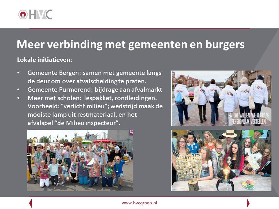Meer verbinding met gemeenten en burgers Lokale initiatieven: Gemeente Bergen: samen met gemeente langs de deur om over afvalscheiding te praten. Geme