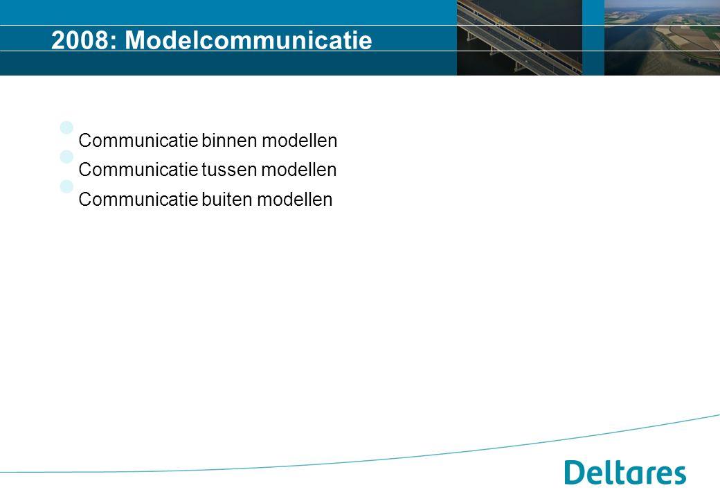 2008: Modelcommunicatie Communicatie binnen modellen Communicatie tussen modellen Communicatie buiten modellen