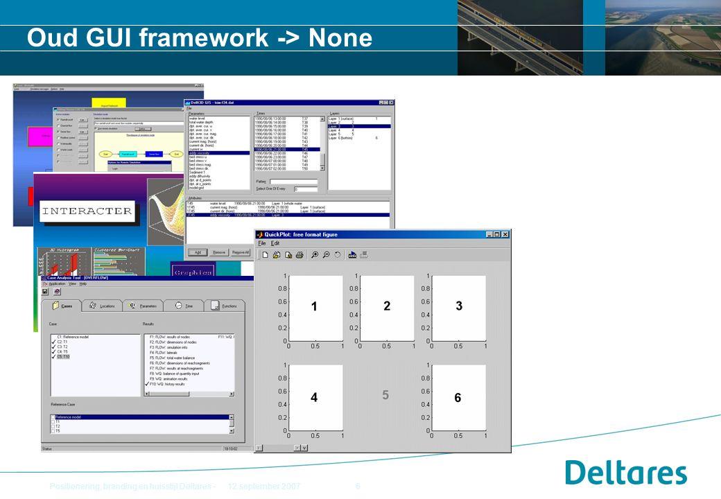12 september 2007Positionering, branding en huisstijl Deltares -6 Oud GUI framework -> None
