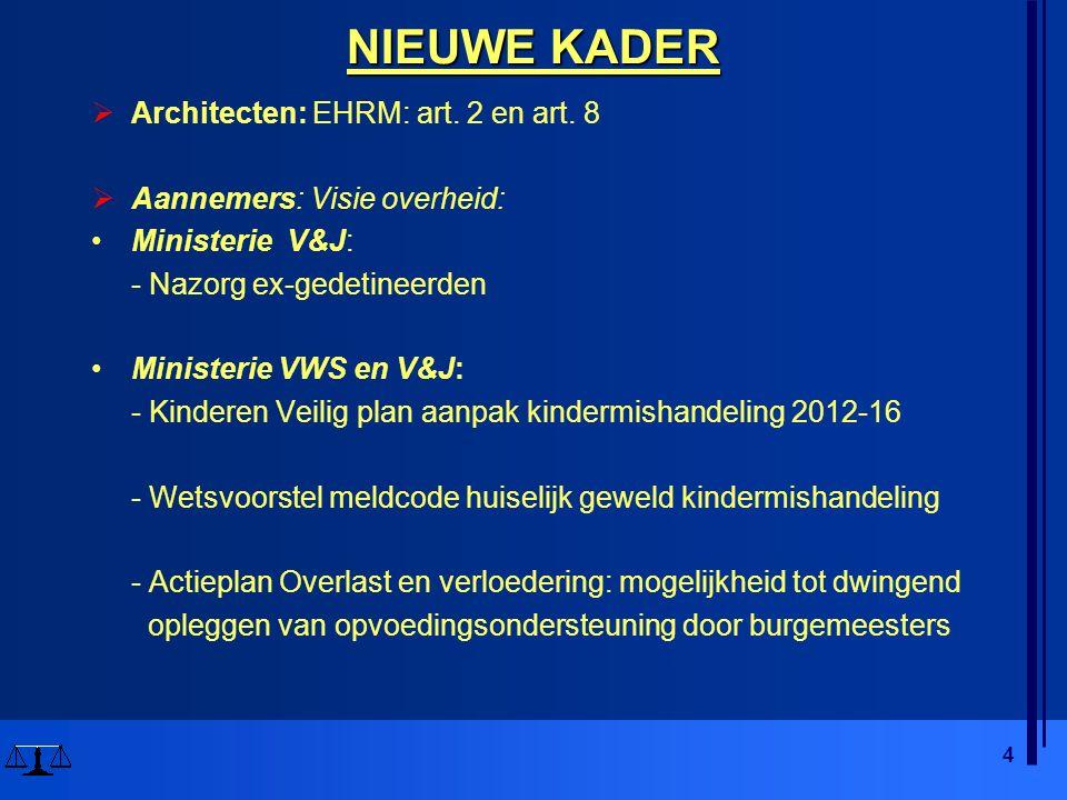 4 NIEUWE KADER  Architecten: EHRM: art. 2 en art. 8  Aannemers: Visie overheid: Ministerie V&J: - Nazorg ex-gedetineerden Ministerie VWS en V&J: - K