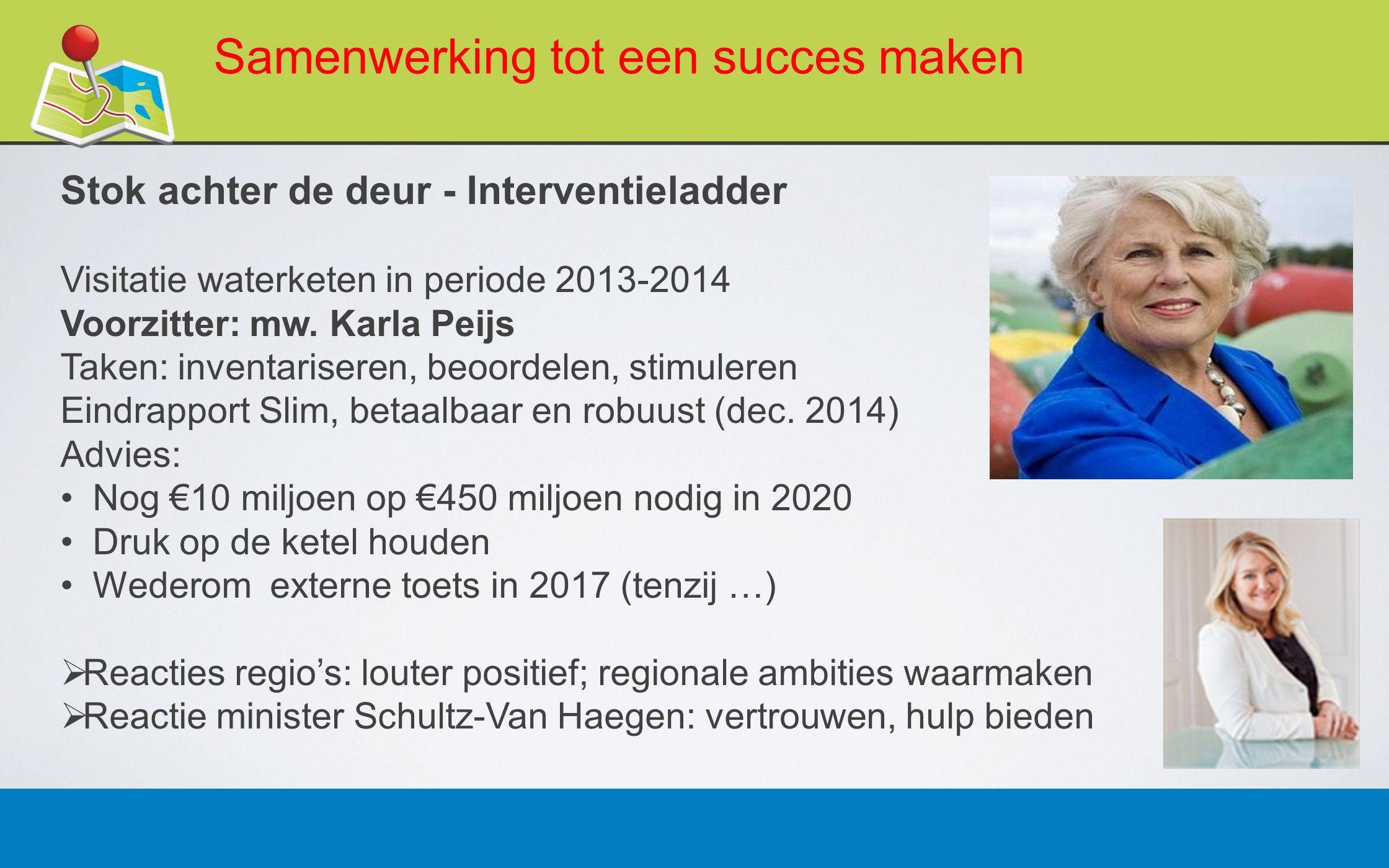 27 februari 201317 Samenwerking tot een succes maken Stok achter de deur - Interventieladder Visitatie waterketen in periode 2013-2014 Voorzitter: mw.
