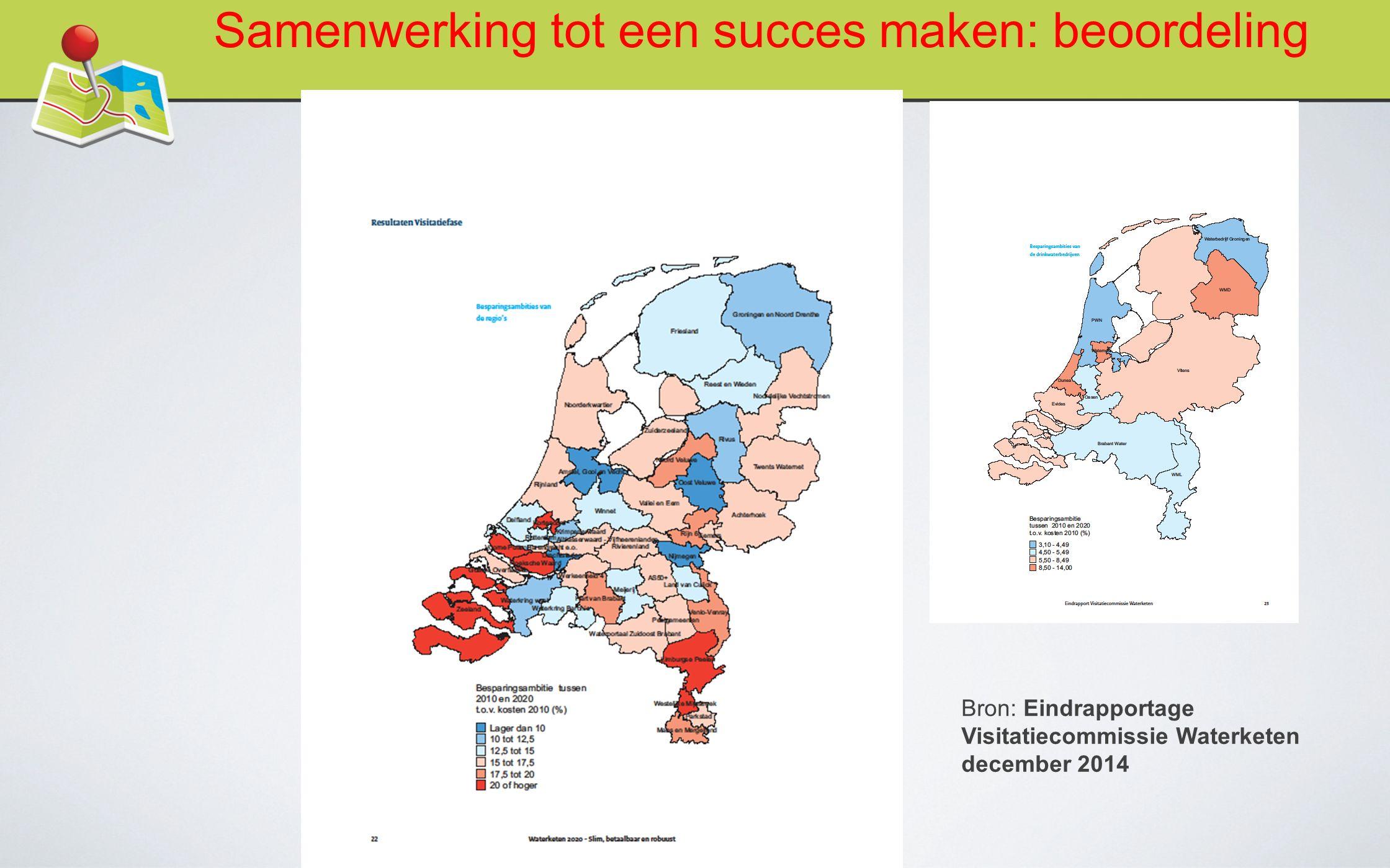 Bron: Eindrapportage Visitatiecommissie Waterketen december 2014 Samenwerking tot een succes maken: beoordeling