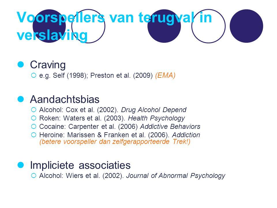 Voorspellers van terugval in verslaving Craving  e.g. Self (1998); Preston et al. (2009) (EMA) Aandachtsbias  Alcohol: Cox et al. (2002). Drug Alcoh