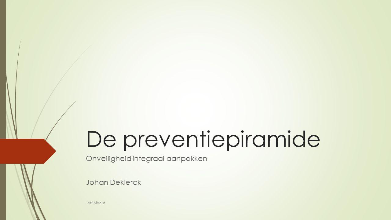 Geschiedenis preventiepiramide  Oorspronkelijk ontwikkeld voor preventie in ziekenhuizen (1993)  Later verder theoretisch onderbouwd door Johan Deklerck (2005)  Vandaag zeer belangrijk onderdeel preventiedomein Johan deklerck Bron: www.kuleuven.be