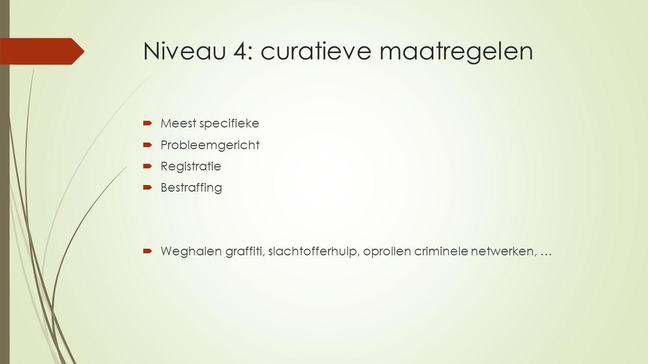 Niveau 4: curatieve maatregelen  Meest specifieke  Probleemgericht  Registratie  Bestraffing  Weghalen graffiti, slachtofferhulp, oprollen criminele netwerken, …