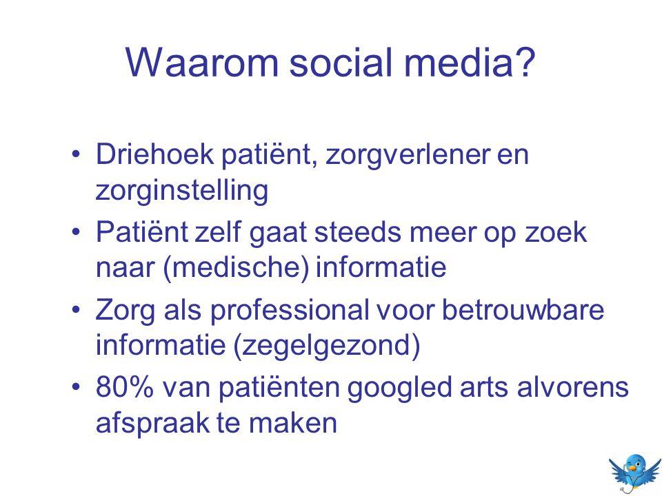 Waarom social media? Driehoek patiënt, zorgverlener en zorginstelling Patiënt zelf gaat steeds meer op zoek naar (medische) informatie Zorg als profes