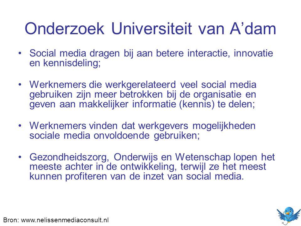 Onderzoek Universiteit van A'dam Social media dragen bij aan betere interactie, innovatie en kennisdeling; Werknemers die werkgerelateerd veel social
