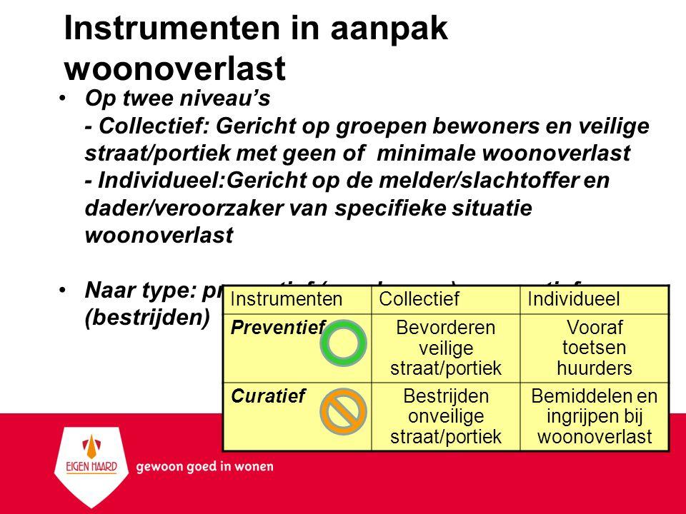 Instrumenten in aanpak woonoverlast Op twee niveau's - Collectief: Gericht op groepen bewoners en veilige straat/portiek met geen of minimale woonover