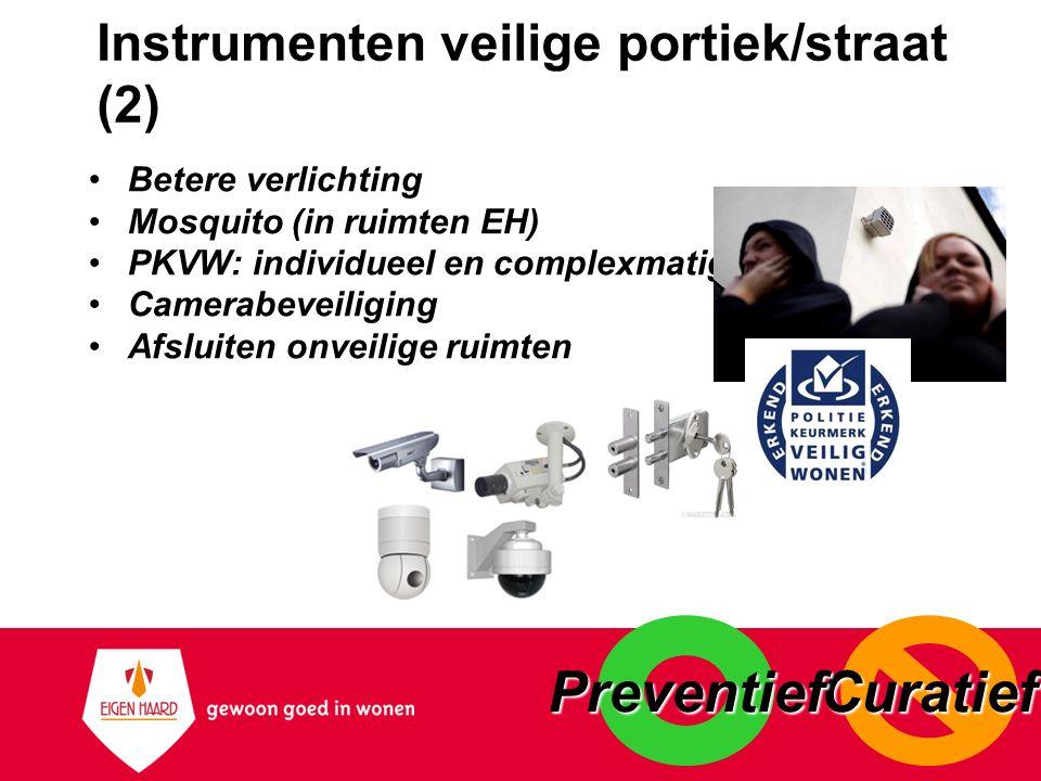 Instrumenten veilige portiek/straat (2) Betere verlichting Mosquito (in ruimten EH) PKVW: individueel en complexmatig Camerabeveiliging Afsluiten onve