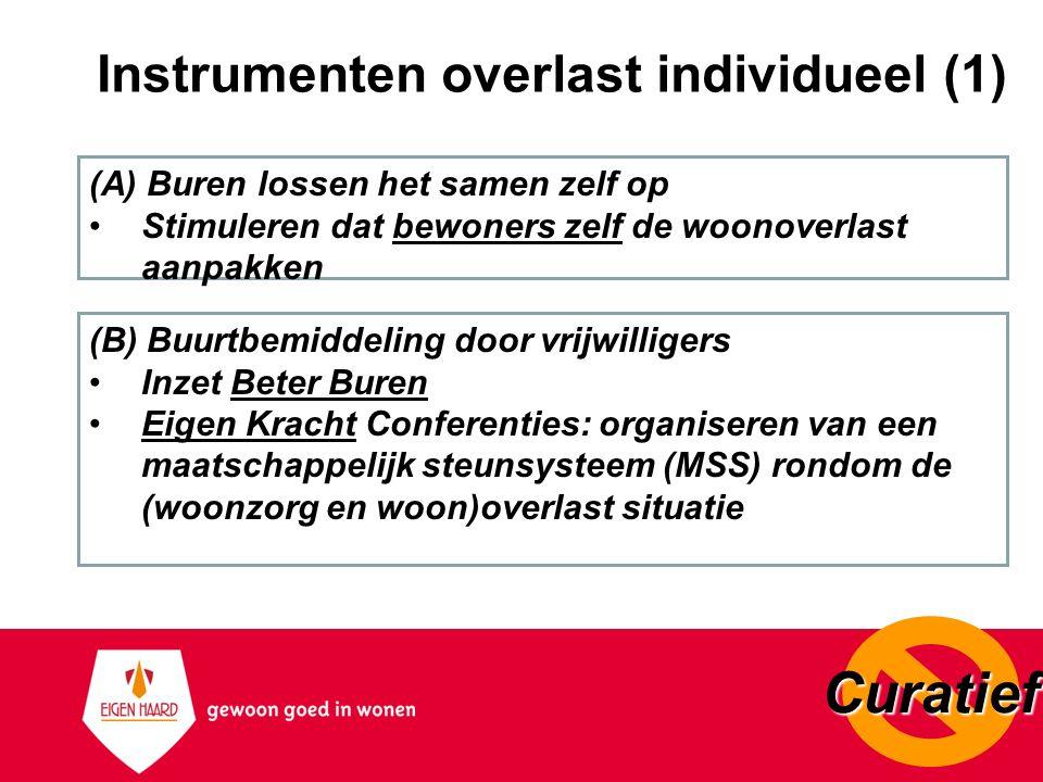 Instrumenten overlast individueel (1) (A) Buren lossen het samen zelf op Stimuleren dat bewoners zelf de woonoverlast aanpakken (B) Buurtbemiddeling d