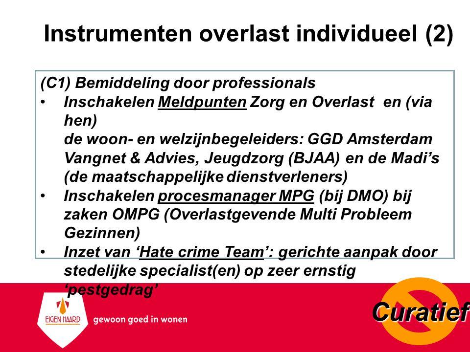 Instrumenten overlast individueel (2) (C1) Bemiddeling door professionals Inschakelen Meldpunten Zorg en Overlast en (via hen) de woon- en welzijnbege