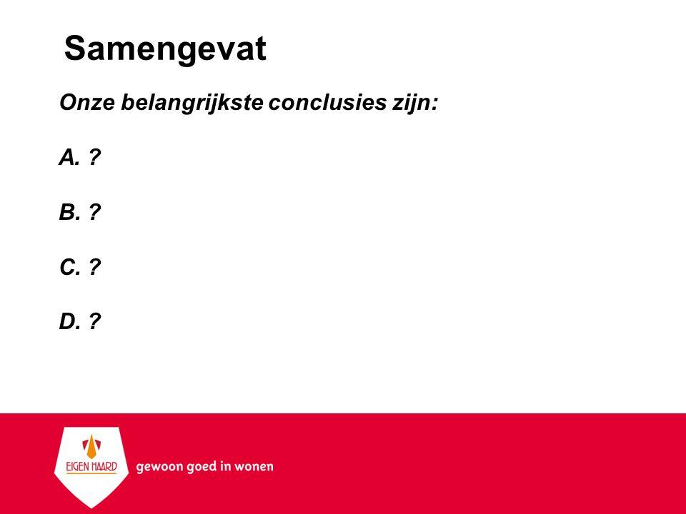 Samengevat Onze belangrijkste conclusies zijn: A.? B.? C.? D.?