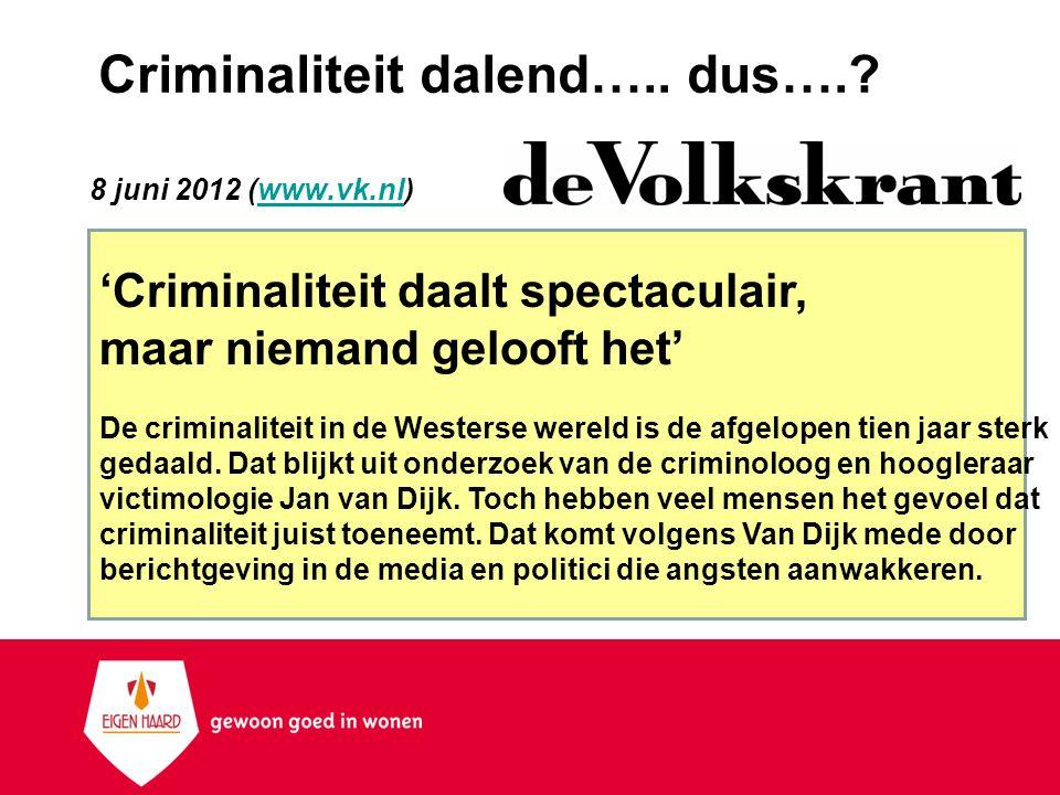 Criminaliteit dalend….. dus….? 8 juni 2012 (www.vk.nl)www.vk.nl 'Criminaliteit daalt spectaculair, maar niemand gelooft het' De criminaliteit in de We