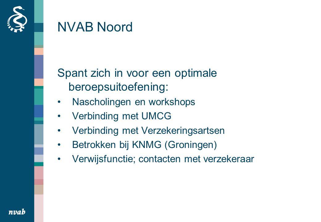 NVAB Noord Spant zich in voor een optimale beroepsuitoefening: Nascholingen en workshops Verbinding met UMCG Verbinding met Verzekeringsartsen Betrokken bij KNMG (Groningen) Verwijsfunctie; contacten met verzekeraar
