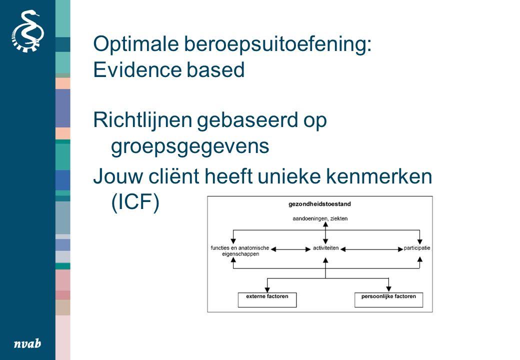 Optimale beroepsuitoefening: Evidence based Richtlijnen gebaseerd op groepsgegevens Jouw cliënt heeft unieke kenmerken (ICF)