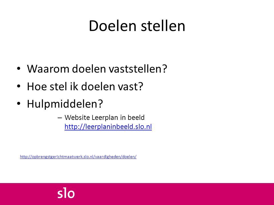 Doelen stellen Waarom doelen vaststellen? Hoe stel ik doelen vast? Hulpmiddelen? – Website Leerplan in beeld http://leerplaninbeeld.slo.nl http://leer