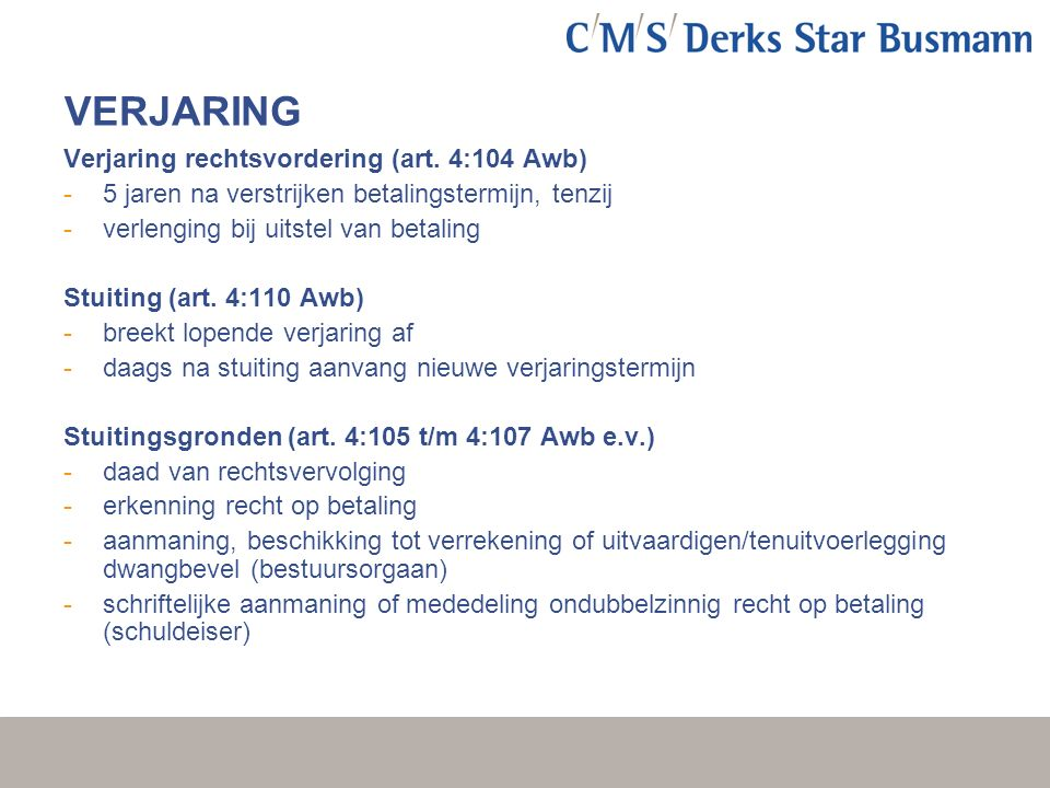 VERJARING Verjaring rechtsvordering (art.