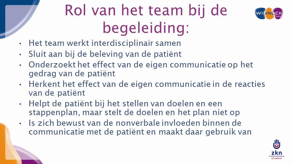 Rol van het team bij de begeleiding: Het team werkt interdisciplinair samen Sluit aan bij de beleving van de patiënt Onderzoekt het effect van de eigen communicatie op het gedrag van de patiënt Herkent het effect van de eigen communicatie in de reacties van de patiënt Helpt de patiënt bij het stellen van doelen en een stappenplan, maar stelt de doelen en het plan niet op Is zich bewust van de nonverbale invloeden binnen de communicatie met de patiënt en maakt daar gebruik van