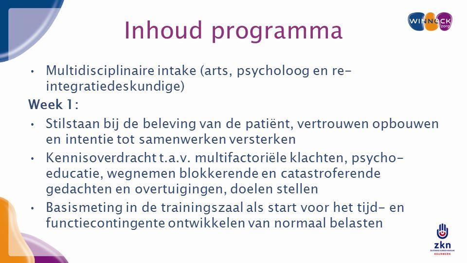 Inhoud programma Multidisciplinaire intake (arts, psycholoog en re- integratiedeskundige) Week 1: Stilstaan bij de beleving van de patiënt, vertrouwen opbouwen en intentie tot samenwerken versterken Kennisoverdracht t.a.v.