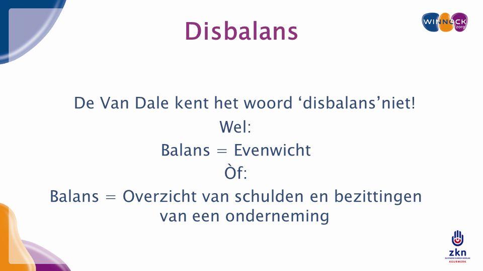 Disbalans De Van Dale kent het woord 'disbalans'niet.