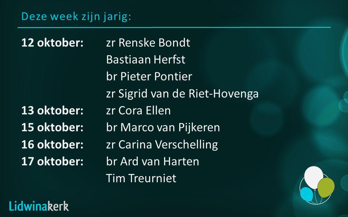 Deze week zijn jarig: 12 oktober:zr Renske Bondt Bastiaan Herfst br Pieter Pontier zr Sigrid van de Riet-Hovenga 13 oktober:zr Cora Ellen 15 oktober:b