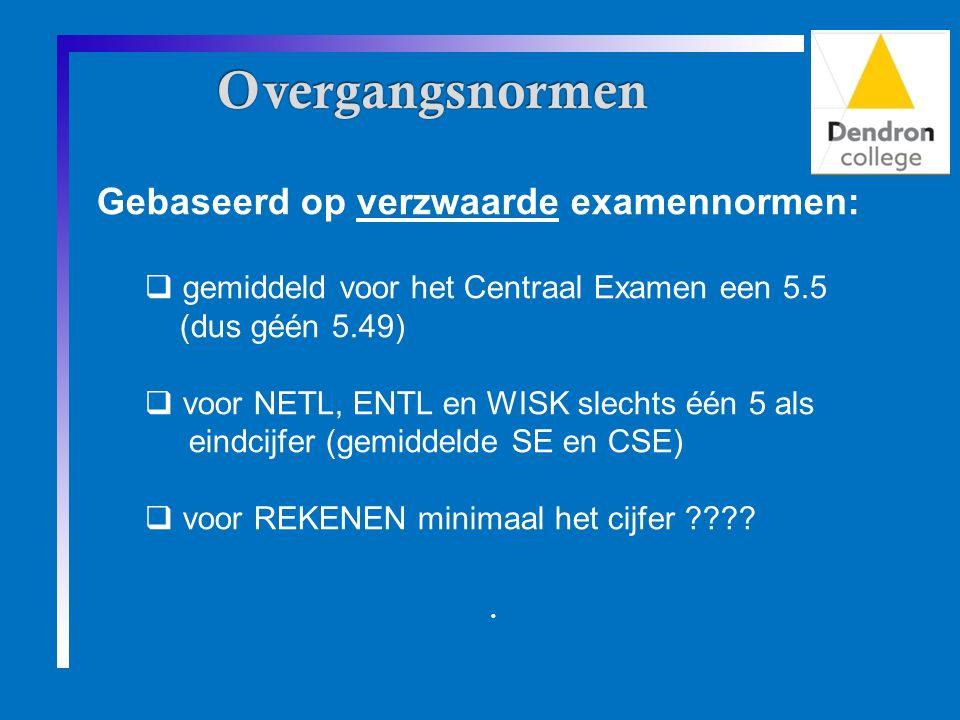 Gebaseerd op verzwaarde examennormen:  gemiddeld voor het Centraal Examen een 5.5 (dus géén 5.49)  voor NETL, ENTL en WISK slechts één 5 als eindcijfer (gemiddelde SE en CSE)  voor REKENEN minimaal het cijfer .