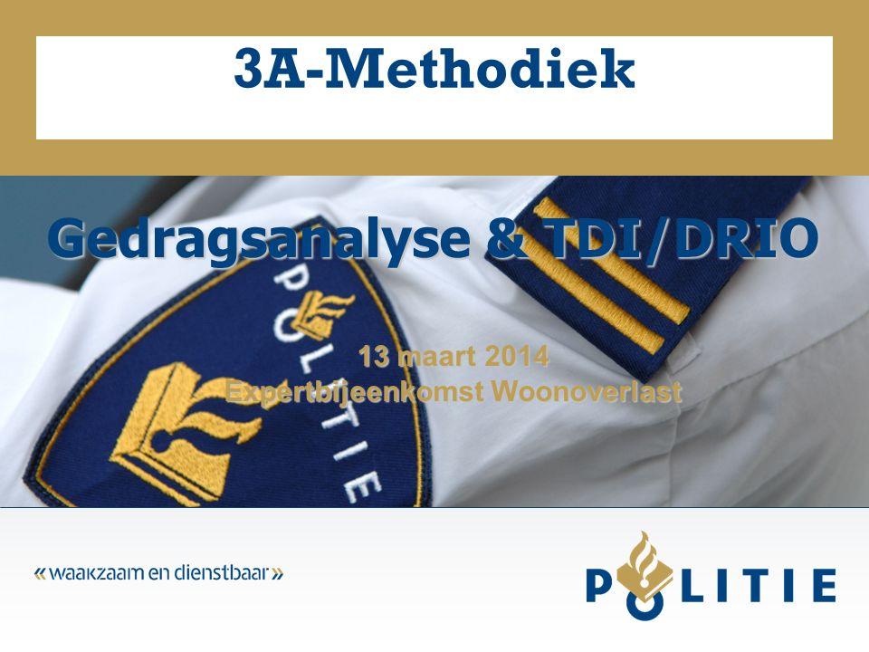 3A-Methodiek Gedragsanalyse & TDI/DRIO 13 maart 2014 Expertbijeenkomst Woonoverlast