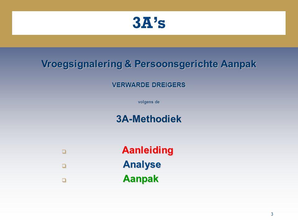 3 3A's Vroegsignalering & Persoonsgerichte Aanpak VERWARDE DREIGERS volgens de 3A-Methodiek  Aanleiding  Analyse  Aanpak