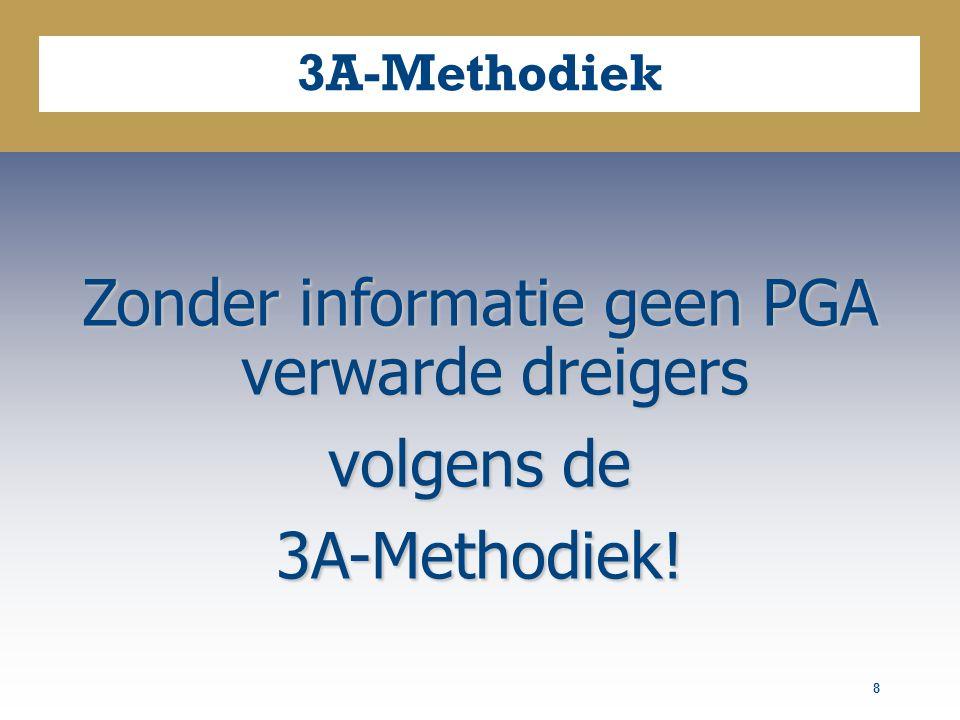 8 3A-Methodiek Zonder informatie geen PGA verwarde dreigers volgens de 3A-Methodiek!
