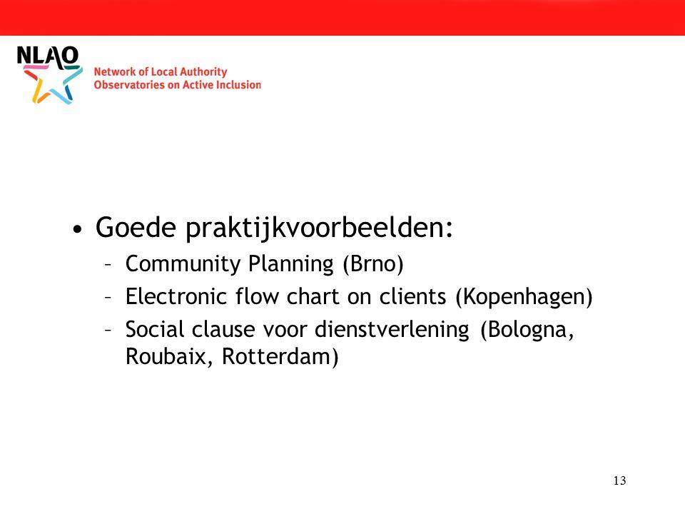 13 Goede praktijkvoorbeelden: –Community Planning (Brno) –Electronic flow chart on clients (Kopenhagen) –Social clause voor dienstverlening (Bologna, Roubaix, Rotterdam)