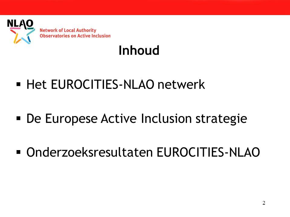 2 Inhoud  Het EUROCITIES-NLAO netwerk  De Europese Active Inclusion strategie  Onderzoeksresultaten EUROCITIES-NLAO