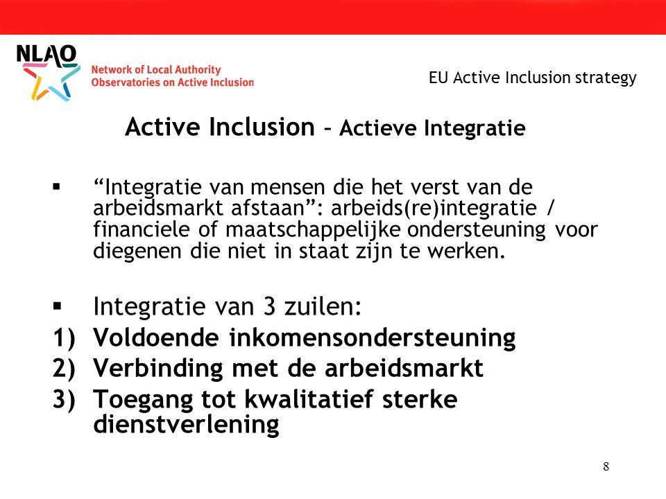 8 EU Active Inclusion strategy Active Inclusion – Actieve Integratie  Integratie van mensen die het verst van de arbeidsmarkt afstaan : arbeids(re)integratie / financiele of maatschappelijke ondersteuning voor diegenen die niet in staat zijn te werken.