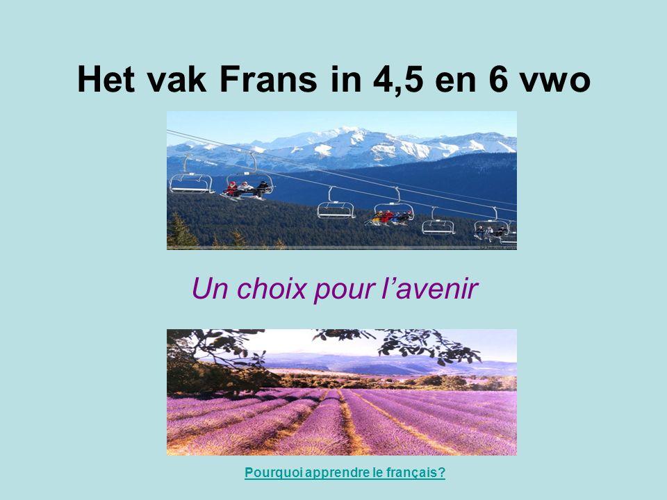 Het vak Frans in 4,5 en 6 vwo Un choix pour l'avenir Pourquoi apprendre le français?