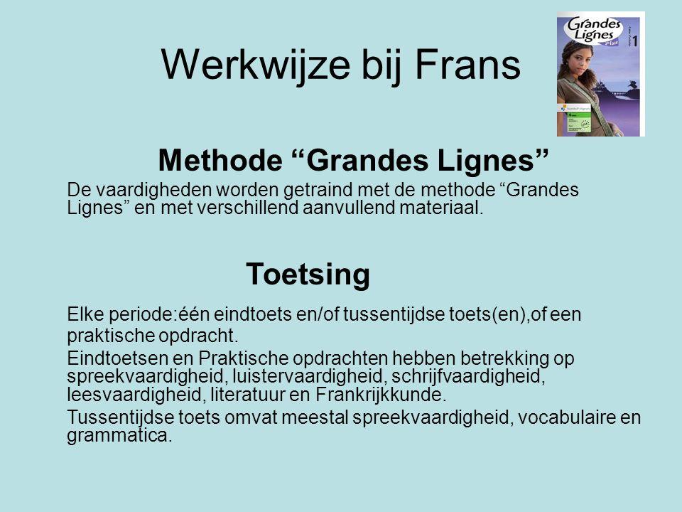 """Werkwijze bij Frans Methode """"Grandes Lignes"""" De vaardigheden worden getraind met de methode """"Grandes Lignes"""" en met verschillend aanvullend materiaal."""