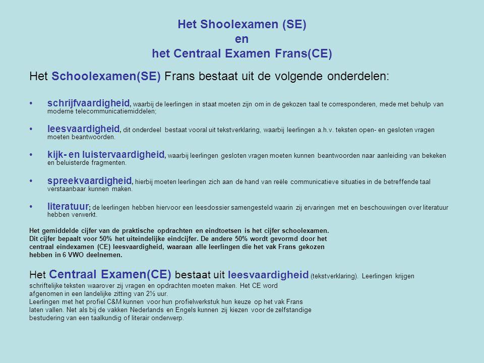 Het Shoolexamen (SE) en het Centraal Examen Frans(CE) Het Schoolexamen(SE) Frans bestaat uit de volgende onderdelen: schrijfvaardigheid, waarbij de le