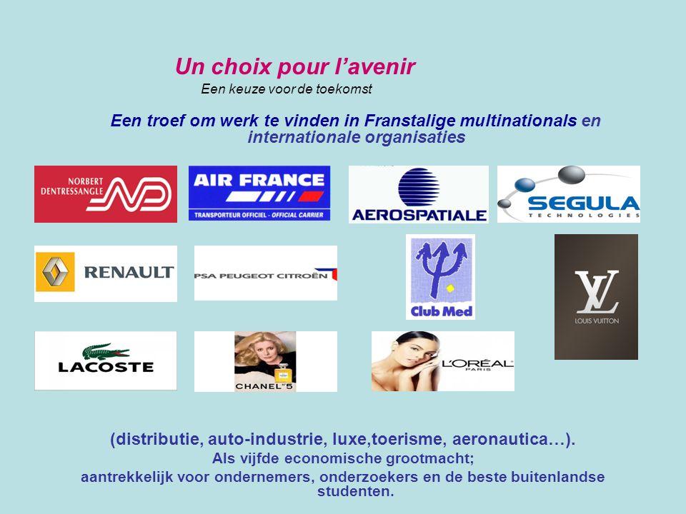 Un choix pour l'avenir Een keuze voor de toekomst Een troef om werk te vinden in Franstalige multinationals en internationale organisaties (distributi