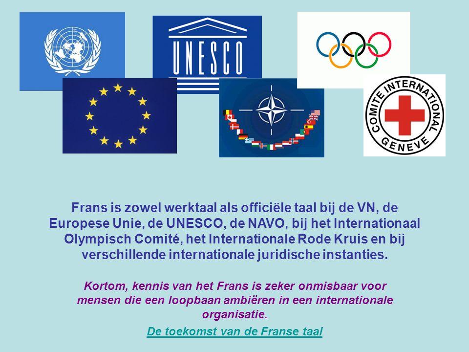 Frans is zowel werktaal als officiële taal bij de VN, de Europese Unie, de UNESCO, de NAVO, bij het Internationaal Olympisch Comité, het International