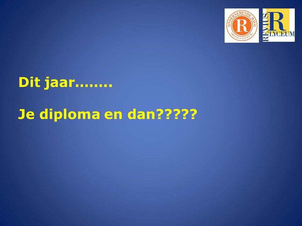 Dit jaar…….. Je diploma en dan?????