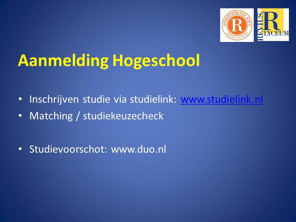 Inschrijven studie via studielink: www.studielink.nlwww.studielink.nl Matching / studiekeuzecheck Studievoorschot: www.duo.nl Aanmelding Hogeschool