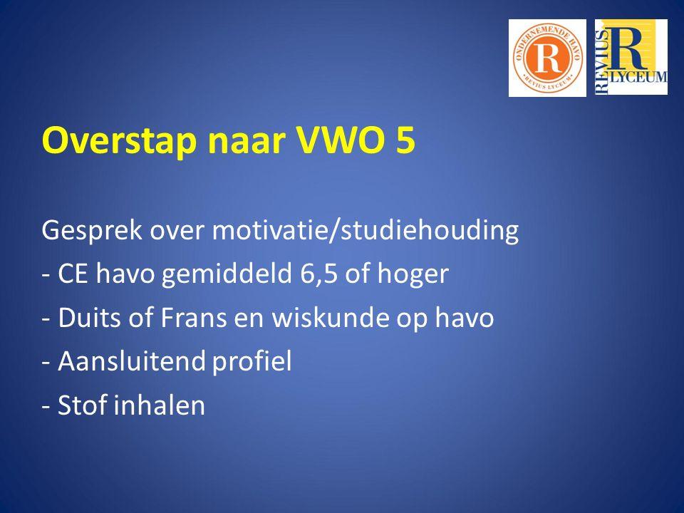Overstap naar VWO 5 Gesprek over motivatie/studiehouding - CE havo gemiddeld 6,5 of hoger - Duits of Frans en wiskunde op havo - Aansluitend profiel - Stof inhalen