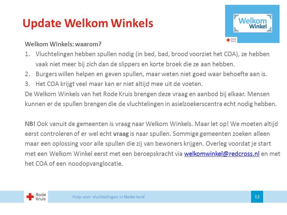 Update Welkom Winkels Hulp voor vluchtelingen in Nederland 13 Welkom Winkels: waarom? 1.Vluchtelingen hebben spullen nodig (in bed, bad, brood voorzie