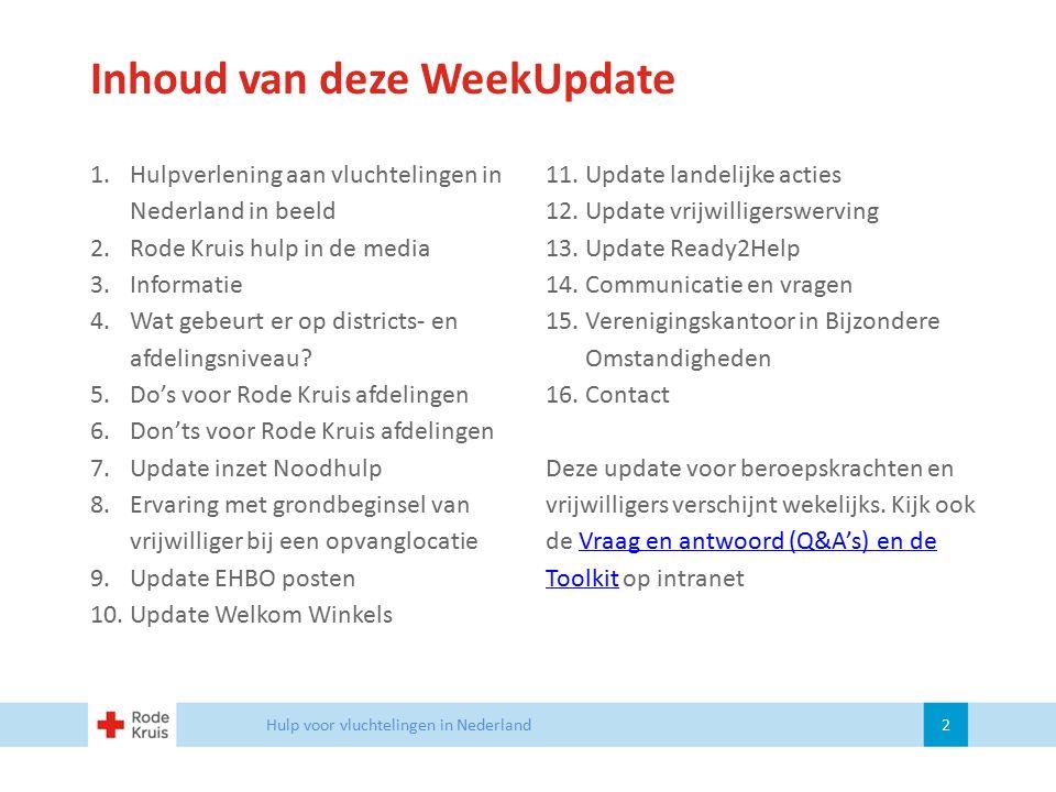 Inhoud van deze WeekUpdate 1.Hulpverlening aan vluchtelingen in Nederland in beeld 2.Rode Kruis hulp in de media 3.Informatie 4.Wat gebeurt er op dist
