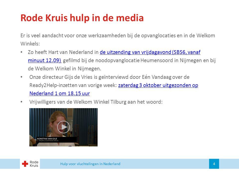 Informatie over hulp voor vluchtelingen in NL Het Rode Kruis is nog steeds in de hoogste staat van paraatheid.