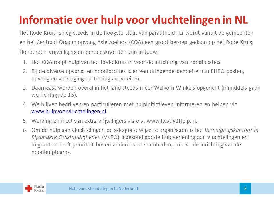 Informatie over hulp voor vluchtelingen in NL Het Rode Kruis is nog steeds in de hoogste staat van paraatheid! Er wordt vanuit de gemeenten en het Cen