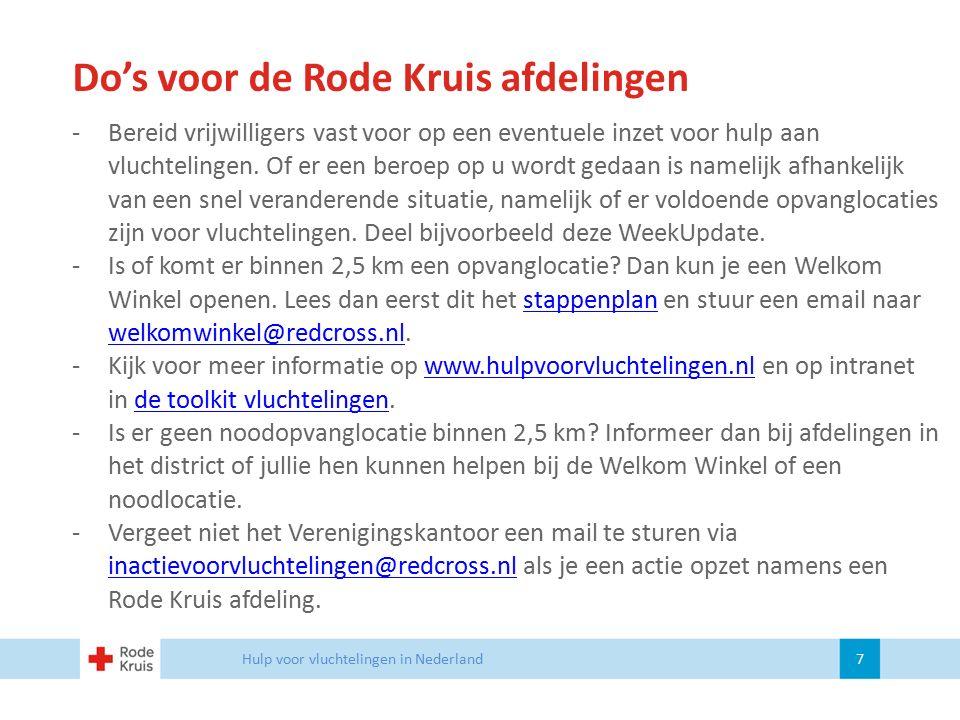 Do's voor de Rode Kruis afdelingen Hulp voor vluchtelingen in Nederland 7 -Bereid vrijwilligers vast voor op een eventuele inzet voor hulp aan vluchte