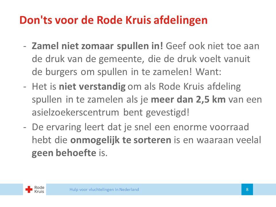 Update Vrijwilligersmanagement Hulp voor vluchtelingen in Nederland 19 Nazorg protocol vrijwilligers Speciaal voor de huidige inzetten met hulp voor vluchtelingen hebben we een aangepast nazorg protocol ontwikkeld.