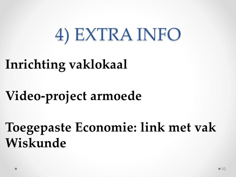 4) EXTRA INFO Inrichting vaklokaal Video-project armoede Toegepaste Economie: link met vak Wiskunde 10